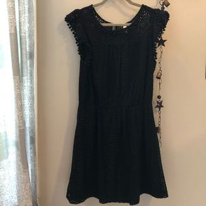 Black all-over lace dress with Pom Pom sleeves
